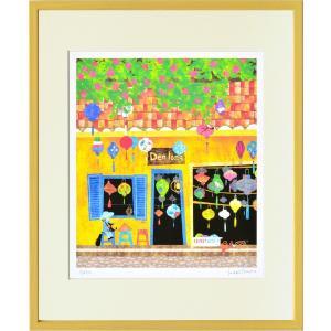 絵画 はり たつお ホイアンのランタン屋(ベトナム)〜世界遺産シリーズ〜/絵画 壁掛け 壁飾り インテリア 油絵 花 アートパネル ポスター 絵|ayuwara