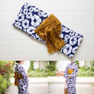 桃プロデュース オトナかわいい浴衣2点SET 椿柄・ゴールド帯  サイズ: レギュラー / スモール |az-shop