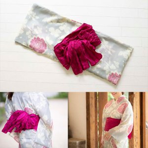 桃プロデュース オトナかわいい浴衣2点SET 薔薇柄浴衣・レッド帯  サイズ: レギュラー / スモール |az-shop