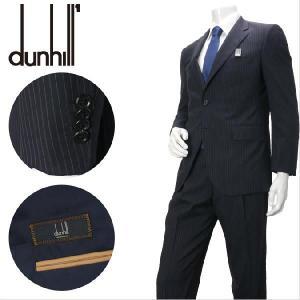 ダンヒル生地使用 2つボタンスーツ 1705021-A 黒 ストライプ メンズ azdeux