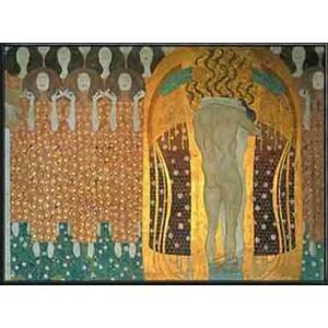ベートーヴェン・フリーズ「歓喜(第3壁面)」(グスタフ クリムト) 額装品 アルミ製ハイグレードフレーム|aziz