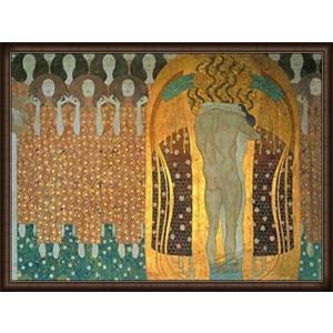 ベートーヴェン・フリーズ「歓喜(第3壁面)」(グスタフ クリムト) 額装品 ウッドハイグレードフレーム|aziz