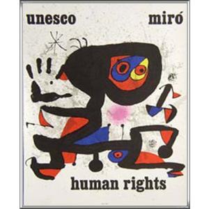 Unesco Human rights(ジョアン ミロ) 額装品 アルミ製ハイグレードフレーム aziz