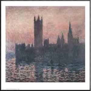 ロンドンの国会議事堂、日没 1903(クロード モネ) 額装品 アルミ製ハイグレードフレーム|aziz