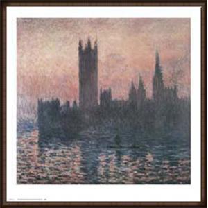 ロンドンの国会議事堂、日没 1903(クロード モネ) 額装品 ウッドハイグレードフレーム|aziz