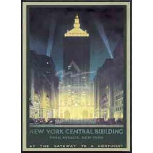 New York Central Building(チェスリー ボーンステル) 額装品 アルミ製ハイグレードフレーム|aziz