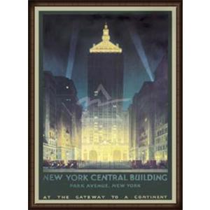 New York Central Building(チェスリー ボーンステル) 額装品 ウッドハイグレードフレーム aziz