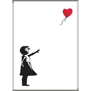 ポスター アート Balloon Girl 赤い風船と少女(バンクシー) 額装品 アルミ製ハイグレードフレーム