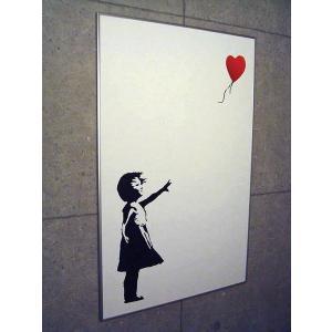 ポスター アート 額装済/30%OFF/バンクシー/Balloon Girl 赤い風船と少女/シルバー|aziz