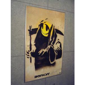 ポスター アート 額装済/30%OFF/バンクシー/The Reaper/シルバー