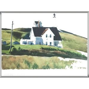 Hill and Houses Cape Elizabeth Maine 1927(エドワード ホッパー) 額装品 アルミ製ハイグレードフレーム|aziz