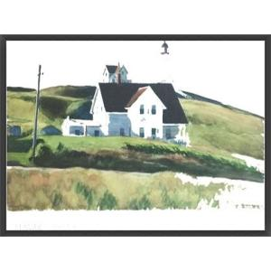 Hill and Houses Cape Elizabeth Maine 1927(エドワード ホッパー) 額装品 ウッドベーシックフレーム|aziz