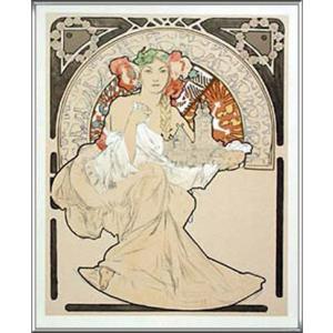 Woman with Cathedral(アルフォンス ミュシャ) 額装品 アルミ製ハイグレードフレーム|aziz