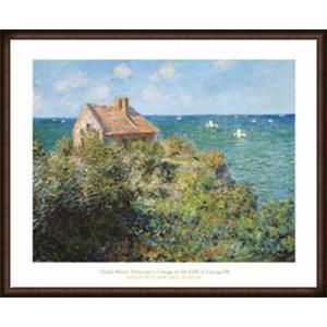 ヴァランジュヴィルの崖の漁師小屋 1882(クロード モネ) 額装品 ウッドハイグレードフレーム|aziz