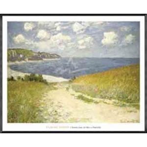 Chemin dans les bles a Pourville 1882(クロード モネ) 額装品 アルミ製ハイグレードフレーム|aziz