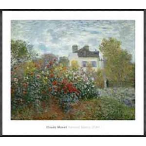 アルジャントゥイユのモネの家の庭(ダリアの咲く庭)1873年(クロード モネ) 額装品 アルミ製ハイグレードフレーム|aziz
