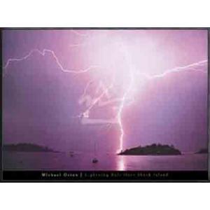 Lightning Bolt over Shack Island(オートン) 額装品 アルミ製ハイグレードフレーム|aziz