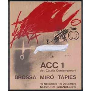ACC1 - Brossa、 Miro、 Tapies 1977年(アントニ タピエス) 額装品 アルミ製ハイグレードフレーム|aziz