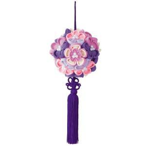 つまみ細工 花てまり 紫 お取り寄せ/手芸用品 手作り ハンドメイド クラフト用品|aznetcc