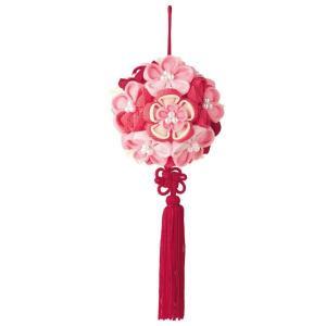 つまみ細工 花てまり ピンク お取り寄せ/手芸用品 手作り ハンドメイド クラフト用品|aznetcc