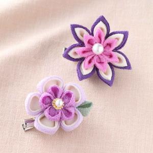 つまみ細工 お花のブローチ 紫 お取り寄せ/手芸用品 手作り ハンドメイド クラフト用品|aznetcc
