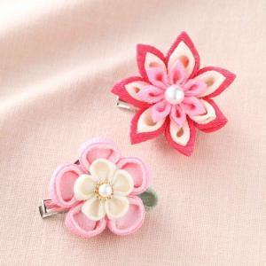 つまみ細工 お花のブローチ ピンク お取り寄せ/手芸用品 手作り ハンドメイド クラフト用品|aznetcc