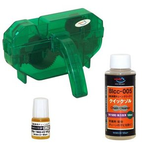 AZ 自転車チお試しチェーンメンテナンス3点セット(BIcc-005 クイックゾル100ml+BIcS-001 チェーンルブ(マルチパーパスSP)5ml・チェーン洗浄器DX)|azoil