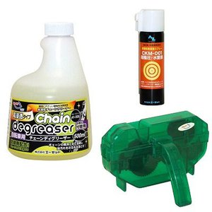 AZ 自転車 チェーンメンテナンス3点セット(A1-008 水溶性チェーンディグリーザー[高浸透 付替]500ml+CKM-001 超極圧水置換スプレー70ml+チェーン洗浄器DX)|azoil