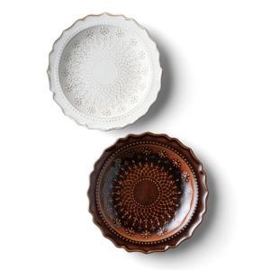 益子焼 レースケーキ皿ペア BR・WH|azp-shop