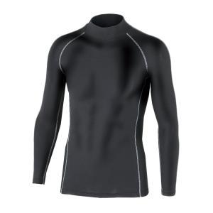 おたふく手袋 ボディータフネス 保温 コンプレッション パワーストレッチ 長袖 ハイネックシャツ JW-170 ブラック M azsys