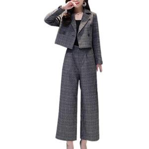 (スーヤ)Sueeya セットアップ ワイドパンツ レディース 上下セット スーツ 九分丈 グレンチェック柄 着痩せ テーラードジャケット アウター 大きいサイズ ゆっ azsys