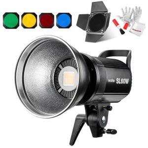 Godox SL-60W 60W LEDビデオライト ボーウェンスマウント CRI95+ Qa>90 5600±300K BD-04バーンドア同梱 azsys