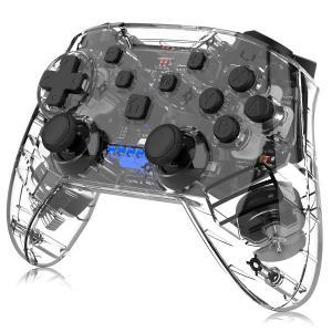 【透明型新登場!】switch コントローラー 任天堂スイッチ プロコン Nintendo Switch対応 連射機能 ジャイロセンサー 振動 Momen?|azsys