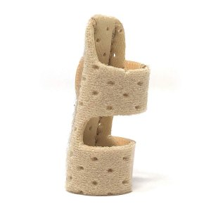 LUSAS 指サポーター ばね指サポーター 整骨院の先生推奨 バネ指 腱鞘炎 突き指 指固定 保護 フリーサイズ ベージュ (有孔タイプ)|azsys