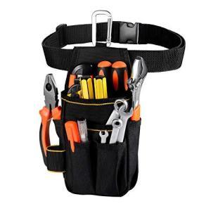 [VOW&ZON] 工具入れ 腰袋 工具袋 小物入れ 作業袋 ウエストバッグ カラビナフック ベルト付 多機能ポケット コンパクト設計|azsys