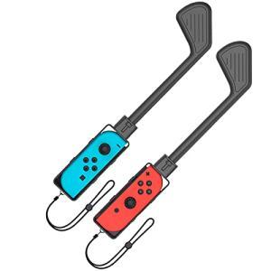 BingDi Nintendo Switch マリオゴルフ用のゴルフロッド マリオゴルフ用のコントローラー 大人と子供 ストラップ付き 2個セット(ブラック)|azsys