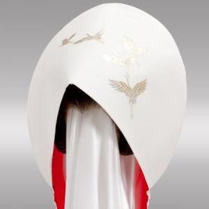 結婚式 花嫁用 綿帽子 ちりめん 飛翔 抜群のシルエット!全国送料無料。|azuma-onlineshop
