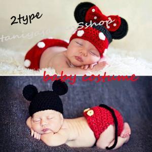 ミキー風 寝相アート 2点セット ニューボーンフォト コスプレ 仮装 写真赤ちゃん 写真 赤ちゃん ...