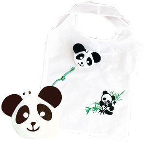 パンダエコバッグは、パンダの顔の形に折りたたむ事ができるエコバッグです。 広げると約40cm四方のプ...