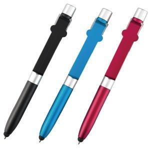 ボールペンの他に、スマートフォンやタブレット専用のタッチペン・スタイラスになり、さらに折り曲げるとス...