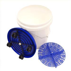 (セール) 洗車用バケツ 20L ホワイト/ブルー グリットガード(砂石分離網)・キャスター蓋付き