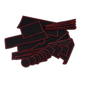 (予約) エブリィ DA17W/Vドア ポケット マット/シート 滑り止め (新型ラバーマット) レッド 23P 車種専用設計 azzurri