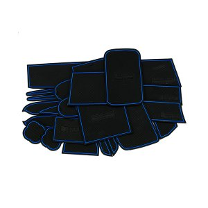 ハイエース200系 スーパーGL(ワイド) ドア ポケット マット/シート 滑り止め (新型ラバーマット) ブルー 21P 車種専用設計|azzurri