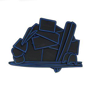 ハイエース200系 3型後期、4型 スーパーGL(標準) ドア ポケット マット/シート 滑り止め (新型ラバーマット) ブルー 17P 車種専用設計|azzurri