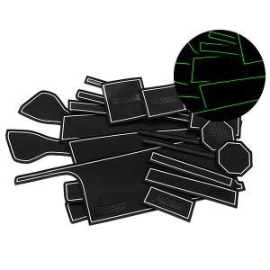 スズキ ワゴンR/ワゴンRスティングレー MH35S/MH55S ドア ポケット マット/シート 滑り止め (新型ラバーマット) 夜光色 21P 車種専用設計|azzurri