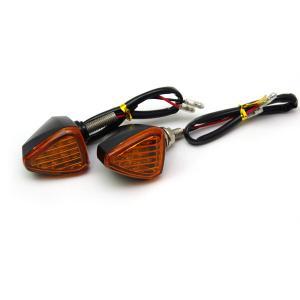 バイク用 LED エアロ ウィンカー 三角形タイプ 汎用 (スモーク/オレンジ)/2個|azzurri