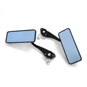 バイク スクエアミラー ブルーレンズ 10mm 正ネジ(8mm正ネジ) 角度自由 ミラー/汎用|azzurri
