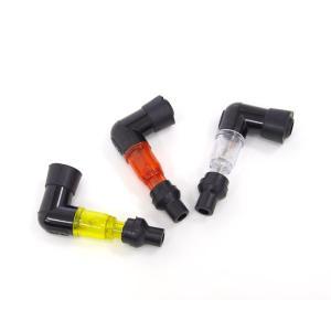 光るプラグキャップ/プラグコード L型90度 クリア レッド グリーン (ネコポス送料無料) azzurri