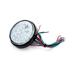 汎用 LEDリフレクター クリアレンズ 丸型 アンバー (スモール・ブレーキ連動) 12V サイドマーカー/バイク/.車|azzurri