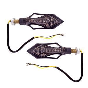 バイク LED ウインカー 矢印型 スモーク LED9発アンバー 左右 2個/セット|azzurri